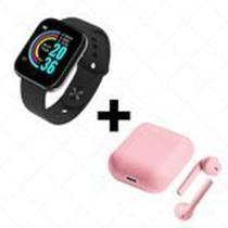 COMBO Relógio Smartwatch D20 Batimento Cardíaco Monitor PRETO  + FONE SEM FIO BLUETOOTH INPODS 12 - Smart Bracelet D20