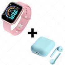 COMBO Relógio Smartwatch D20 Batimento Cardíaco Monitor ROSA  + FONE SEM FIO BLUETOOTH INPODS 12 - Mcmc
