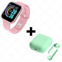COMBO Relógio Smartwatch D20 Batimento Cardíaco Monitor ROSA  + FONE SEM FIO BLUETOOTH INPODS 12 VER - Mcmc