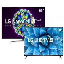 "Combo Smart TV LG 65"" 65NO96S 8K IPS NanoCell e Smart TV LG 50"" 50UN7310 4K UHD -"