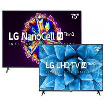 "Combo Smart TV LG 75"" 75NO95S 8K IPS NanoCell e Smart TV LG 50"" 50UN7310 4K UHD -"
