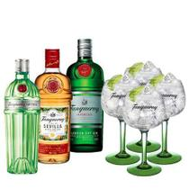 Combo Tanqueray Ten 750ml + Sevilla 700ml + London Dry 750ml + 4 Taças Importadas -