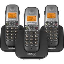 Combo Telefone Sem Fio 1 Base Com 2 Ramais Adicionais Intelbras TS 5123 Preto -