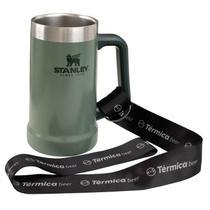Combo Térmica Beer  - Caneca Verde 709ml Stanley e Cordão Tirante -