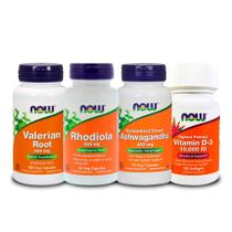 Combo Valeriana + Rhodiola + Ashwagandha + Vit D3 10000 Now - Now foods