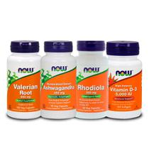Combo Valeriana + Rhodiola + Ashwagandha + Vit D3 5000 Now F - Now foods