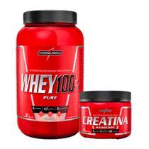 Combo Whey 100% Pure Pote - Morango - Pote 907g + Creatina 150g - Integral Medica - Integralmédica