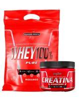 Combo Whey 100% Pure Refil 907g Morango + Creatina 150g Integral Medica - Integralmédica