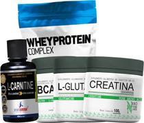 Combo Whey A 2melhor marca de Proteína do Mercado + Creatina + Bcaa + L-carlitina + Glutamina - Sports Nutrition