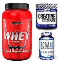 Combo Whey Protein 900g + Creatina 90g+ Bcaa 60 capsulas - Integralmédica + Pro Fit