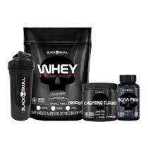 Combo whey protein + bcaa + creatina + coqueteleira - Black Skull