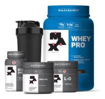 Combo Whey Protein + Bcaa + Creatina + Glutamina - Max - Max Titanium