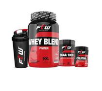Combo WHEY PROTEIN BLEND 900g  FTW + BCAA 1.000 FTW 60 CAPS + CREATINE TOP FTW - 60g + COQUETELEIRA 700ml - Fitoway