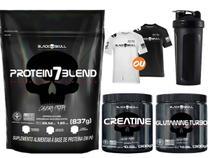 Combo Whey Protein Blend + Creatina + Glutamina + Camisa Dry Fit + Brinde - Black Skull