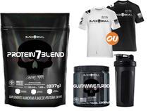 Combo Whey Protein Blend + Glutamina + Camisa Dry Fit + Brinde - Black Skull