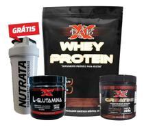 Combo X-Lab - Whey Protein 2kg Morango c/ Banana + Creatine 300g + L-Glutamina 300g + Coqueteleira -