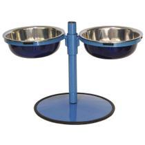 Comedouro Duplo Grande c. regulagem:  Azul Pigmentado - Gastrobel