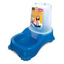 Comedouro e bebedouro dupla função cães e gatos azul - Pet Inejt
