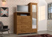 Cômoda com 4 Gavetas Sapateira e Espelho Geval Versátil Canela Wood -