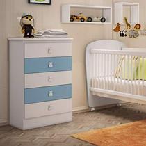 Cômoda de Bebê 5 Gavetas Móveis Percasa Branco/Azul -