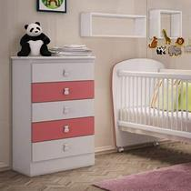 Cômoda de Bebê 5 Gavetas Móveis Percasa Branco/Rosa -