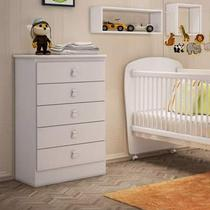 Cômoda de Bebê 5 Gavetas Móveis Percasa Branco -