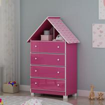 Comoda Infantil 4 Gavetas Casinha Pink Ploc - Gelius -