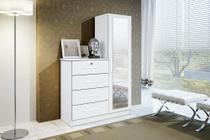Comoda Multiuso 4 Gavetas Com Espelho  Branca Confort Minha Casa - Minha Casa Móveis