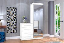 Cômoda Multiuso com Espelho 1 Porta 4 Gavetas Thor J&A Móveis Branco -