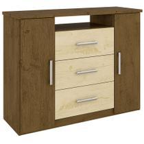 Cômoda Prisma C/ 2 Portas Castanho Wood/Avelã Wood/Castanho Wood - Moval móveis