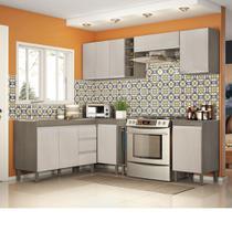 Composição Cozinha Karen 08 módulos Peternella Cor Malbec e Avelã -