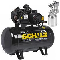 Compressor 10 Pés 100 Litros 140 Libras 2 HP CSV-10/100 PRO SCHULZ + Pistola de Pintura -