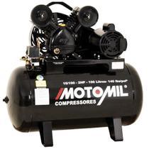 Compressor 10 Pés 2 HP 100 Litros 2 Pistões CMV Motor Monofásico Preto MOTOMIL -