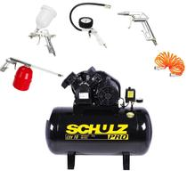 Compressor De Ar 10 Pés 100l 110 Mono Pro Schulz + Kit 5 Pçs -