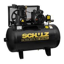 Compressor de ar 10 pés 100L 2 hp 140 lbs trifásico CSL 10BR/100 - BRAVO - Schulz -