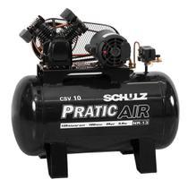 Compressor de ar 10 pés 2 hp 100 litros monofásico - Pratic Air CSV10/100 (220V) - Schulz