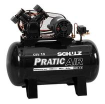 Compressor de ar - 100l - 2hp - trifasico - pratic air - schulz -