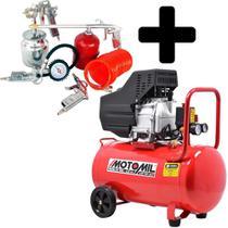 Compressor De Ar 2,5hp 50L 10Pes Bivolt com Kit Pintura - Motomil -