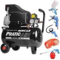Compressor De Ar Pratic Air 8,2 Pés 25 Litros + Kit Para Compressor Gamma - Schulz
