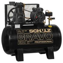 Compressor de ar schulz bravo csl 10 pes 100 litros 2 cv trifasico 220/380v -