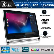 Computador All in One 21. 5 Icc Vision Av2-4347 Intel I3-4170 3,70ghz 4gb Hd 240gb Ssd Wifi Webcam Dvdrw