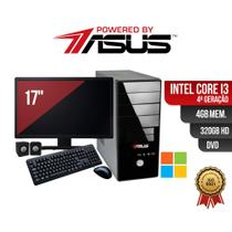 Computador  ASUS  I3 4ger 4gb 320Gb DVD Mon 17 Win  Kit