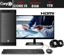 "Computador com Monitor 19.5"" HDMI CorPC Intel Core i5 8GB HD 1TB com Kit Multmídia -"