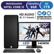 "Computador Completo CorPC Standard Intel Core i5 8GB Hd 3TB Monitor 19.5"" HDMI LED - EasyPC"