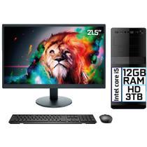 "Computador Completo Intel Core i5 12GB HD 3TB Monitor LED 21.5"" HDMI EasyPC Go - 3Green"