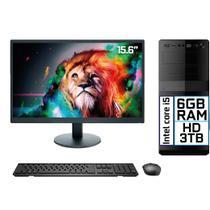 "Computador Completo Intel Core i5 6GB HD 3TB Monitor LED 15.6"" HDMI EasyPC Go - 3Green"