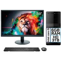 "Computador Completo Intel Core i5 6GB HD 3TB Monitor LED 21.5"" HDMI EasyPC Go - 3Green"