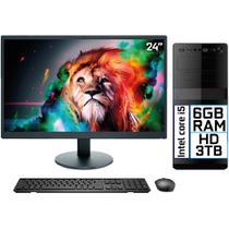 "Computador Completo Intel Core i5 6GB HD 3TB Monitor LED 24"" HDMI EasyPC Go - 3Green"