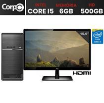 Computador Completo Intel Core i5 6GB HD 500GB Monitor LED HDMI CorPC -