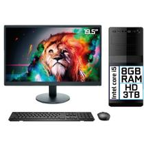 "Computador Completo Intel Core i5 8GB HD 3TB Monitor LED 19.5"" HDMI EasyPC Go -"